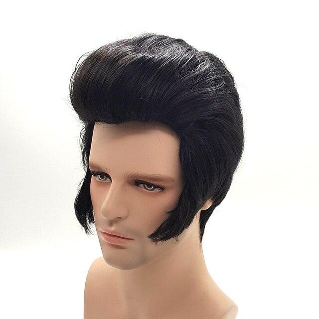 Peluca de cosplay para hombre, cantantes de Rock, Elvis Presley Aron, peluca de pelo de fiesta sintética negra de Elvis Presley + gorro de peluca