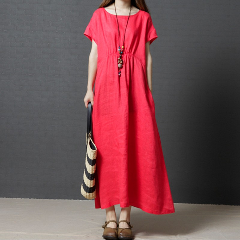 f5d9dd48315 2018 new fashion woman long dress cotton linen casual solid short sleeve O  Neck dress maxi