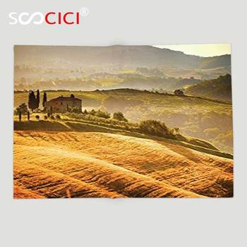 Custom Soft Fleece Throw Blanket Tuscan Decor Collection Siena Tuscany Vineyard Retro Farmhouse Cypress Trees and Sunset Picture