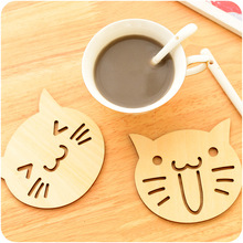 2 PCS Wooden Carved Coasters Table Pad Cartoon Cat Owl Cup Mug Mat Coffee Tea Holder