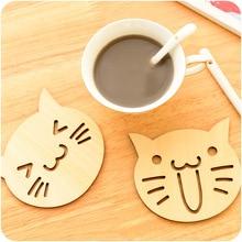 2 PCS Wooden Carved Coasters Table Pad Cartoon Cat Owl Cup Mug Mat Coffee Tea Holder Home Decor Tableware
