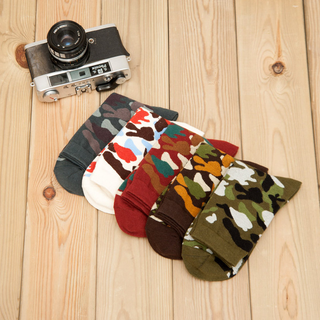 mantieqingway lot 5 pieces camouflage socks for men redwhitegreengray color male sock army style casual socks