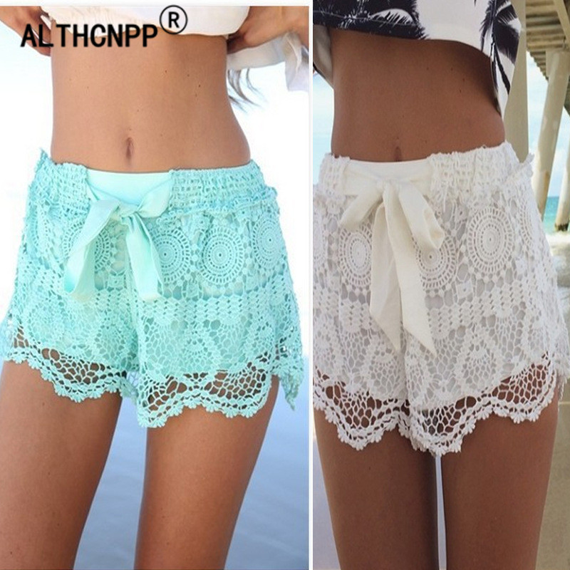 Womens Shorts Casual Lace Shorts Hollow Out Hem Crochet Chiffon