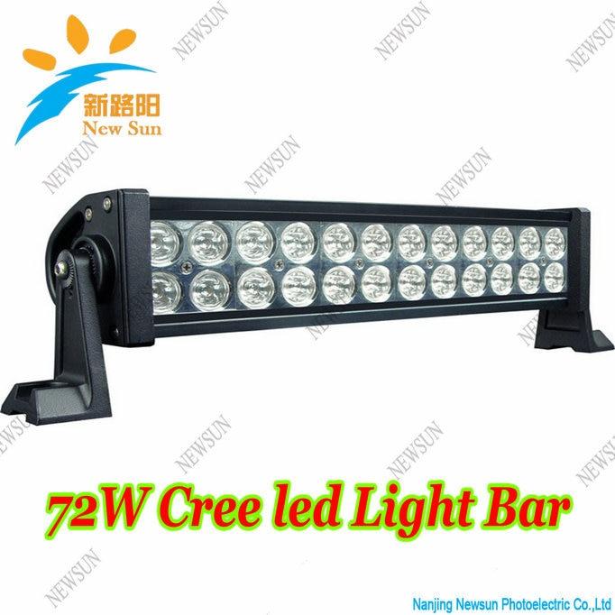 72w Light bar LED Cree chips spot 13 5 off road fog driving 4x4 SUV roof