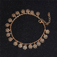H:HYDE Hot Selling Ankle Hollow Rose Flower Chain Anklet Foot Leg Chain Foot Jewelry for women Barefoot Beach jewelry woman