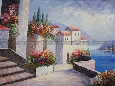 New China Girl Wallpaper Seascape Mediterranean Scenes Village Office Background