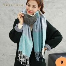 VEITHDIA Горячая осень зима женский шерстяной шарф женские кашемировые шарфы широкие решетки длинная шаль обёрточная бумага одеяло теплый палантин