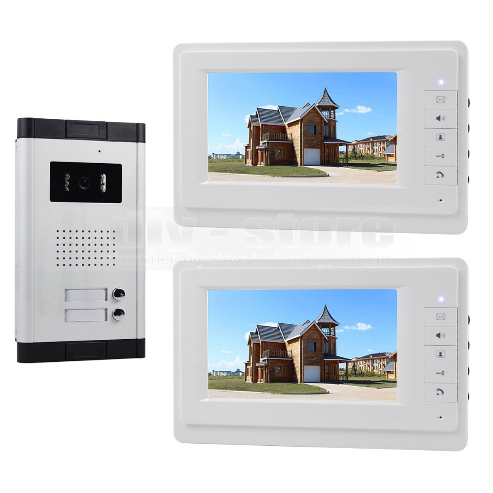 DIYSECUR 7 Apartment Video Intercom Doorbell System IR Camera Touch Key For 2 Families my apartment