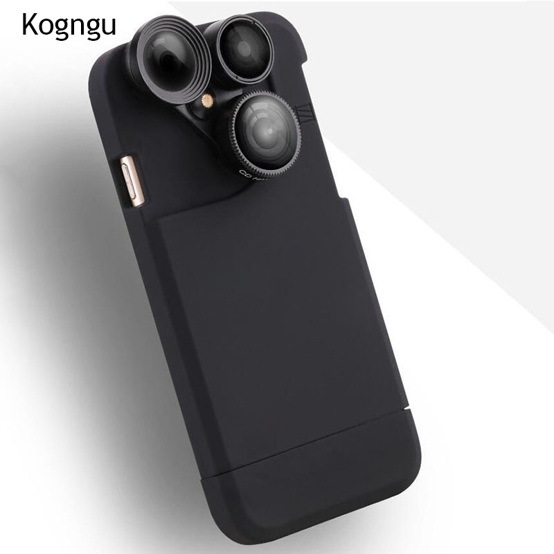 Kogngu 4 In 1 Telescope lense Mobile Phone Case for Iphone x 8plus 7 plus 6 plus 8 7 6s Camera lenses Outdoor Hunting