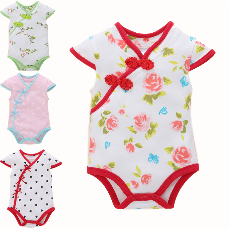 Retail 2017 Baby Girls Bodysuit Infant short Sleeve Chinese Cheongsam Style Cotton Jumpsuit Floral Dots Summer Outfit Clothing