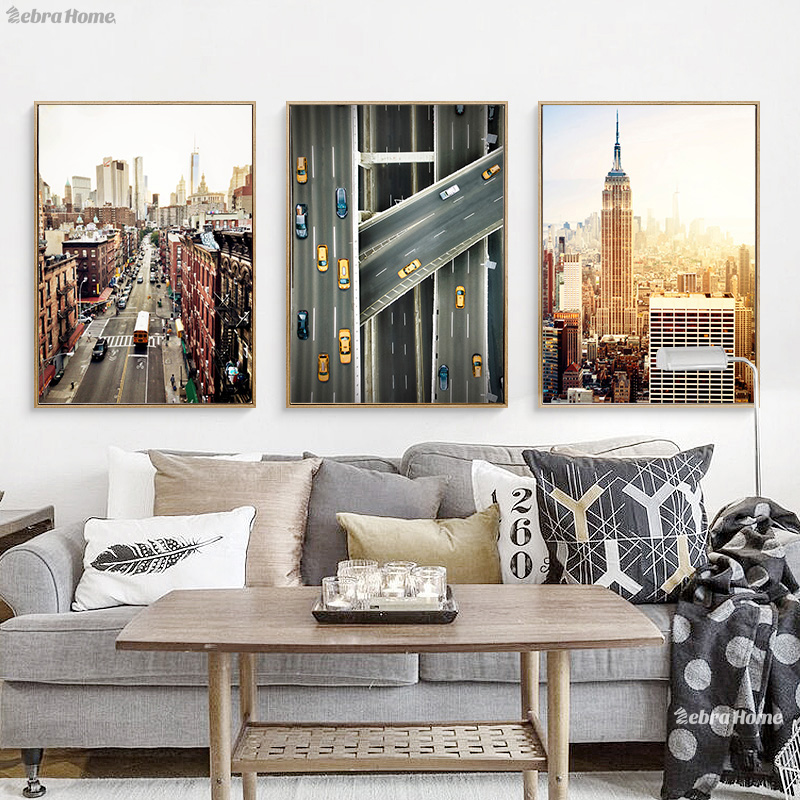 New York Aquarelle Impression Toile Mur Art Affiche Abstraite Ville Horizon Villes Typographie Image Home Decor Aquarelle Peinture