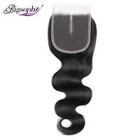 Bigsophy бразильские синтетические волосы волнистые 100% человеческие волосы 8-20 дюймов 4*4 Кружева Закрытие бесплатно/средний/три части завитые з...