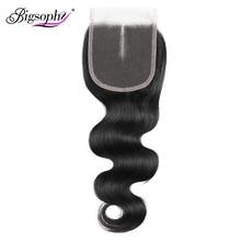 Brezilyalı İnsan saç kapatma 4x4 dantel kapatma vücut dalga İsviçre dantel kapatma 8 20 inç ücretsiz/ orta kısmı Remy saç dokuma Bigsophy