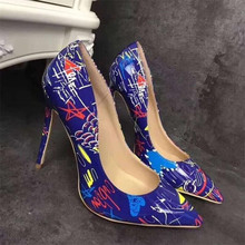 High quality sexy nightclubs thin single shoes pointed shallow mouth graffiti female high heel women's shoes size 35-42 american ultra high heel fashion nightclubs sexy thin with thin shoes crossed with water platform fish mouth women s shoes