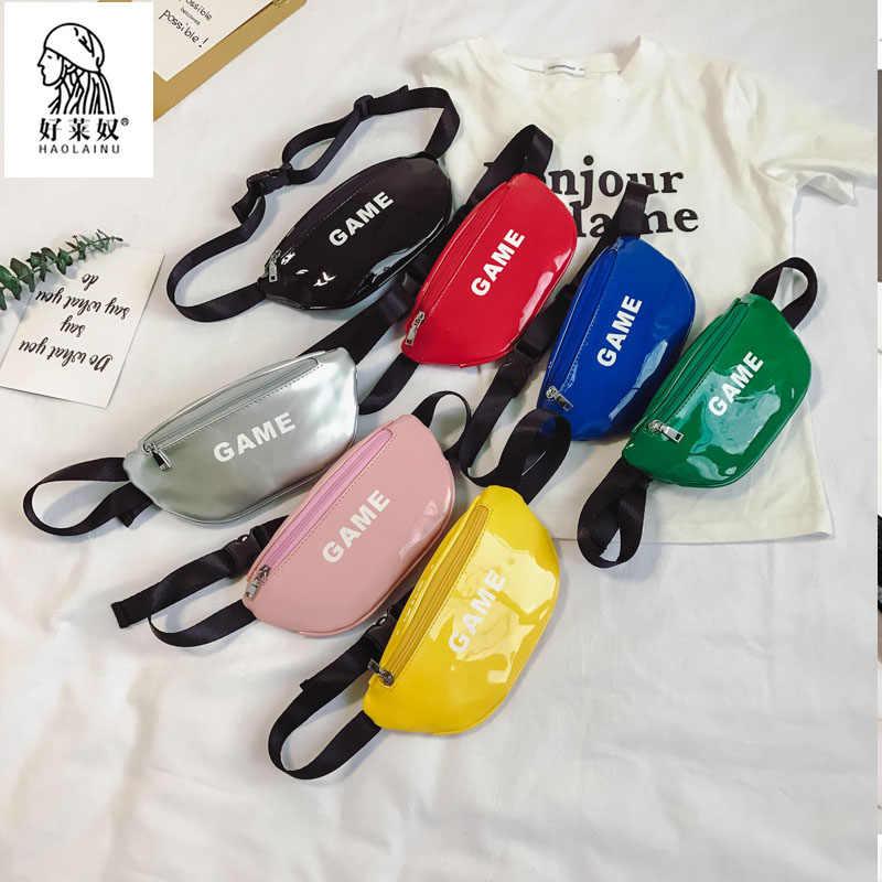 Laser taille sacs pour enfants bébé fille lettre porte-monnaie drôle Pack Mini enfants sacs à bandoulière femmes argent taille Packs ceinture sac