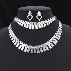 Image 5 - Ensemble de collier avec Bracelet, boucles doreilles et boucles doreilles, ensemble de bijoux tendance pour femmes, couleur or/argent, ras du cou africain, S462