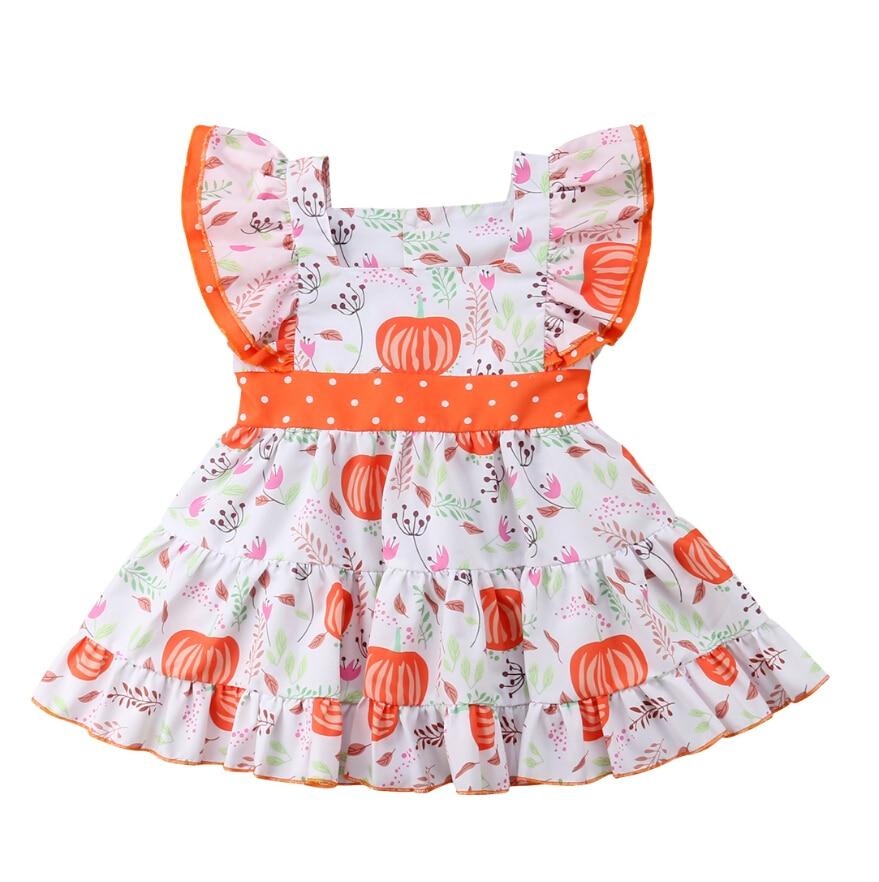 Encantador Da Criança Do Bebê Crianças Meninas Babados Vestido Floral Mangas Vestidos Vestido de Verão Bonito Roupas do Dia Das Bruxas Abóbora