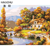 HAOCHU DIY Digital Oil Painting Drawing By Numbers Hand Paint Wall Picture Cabin Landscape River Wall