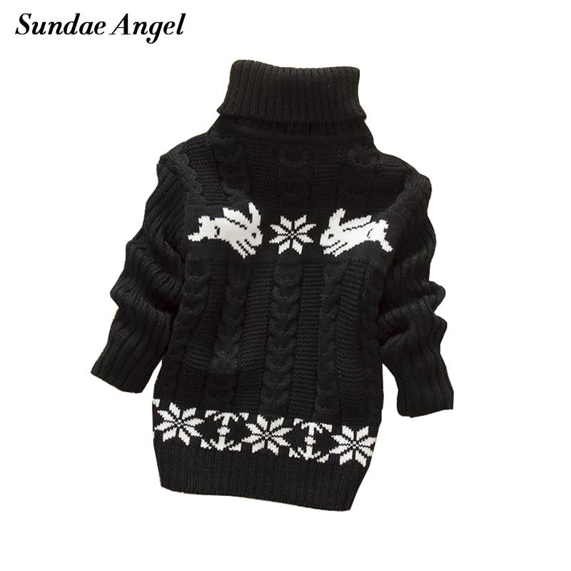 Sundae Angel Boys sweater For Kids Baby Turtleneck Thick Long Sleeve Rabbit Cartoon Winter 2017 baby girl sweater
