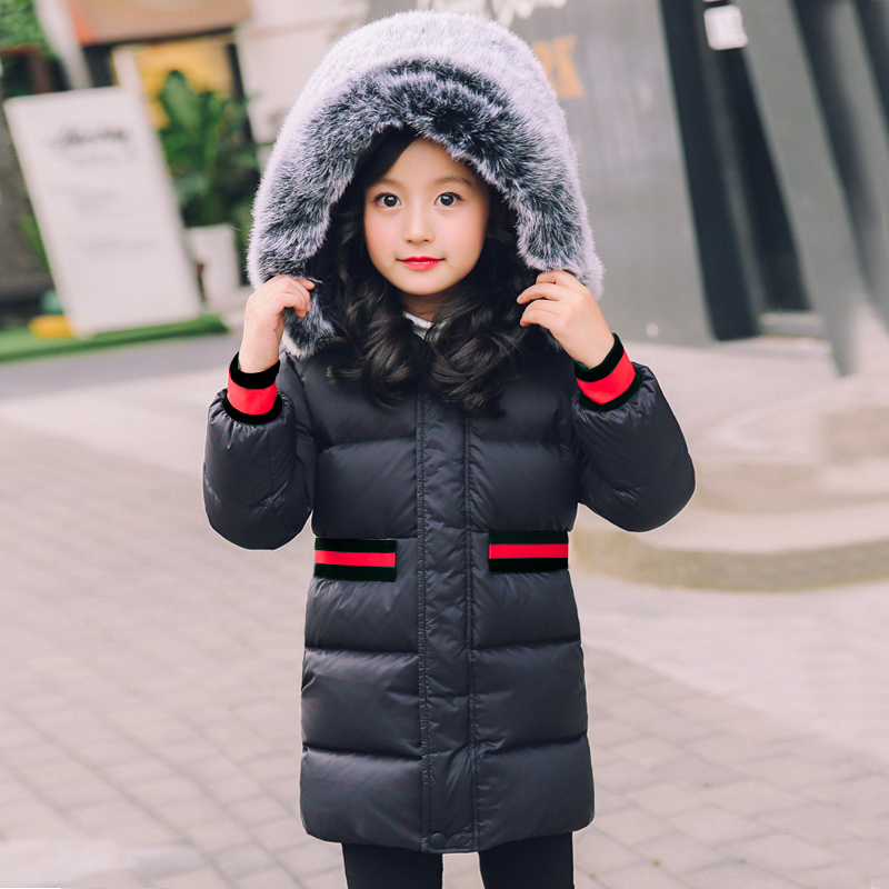 boy winter coat 2018 Flannel lining larger hooded warm padded cotton kids jacket Suitable girl winter coat with fur -20 degree
