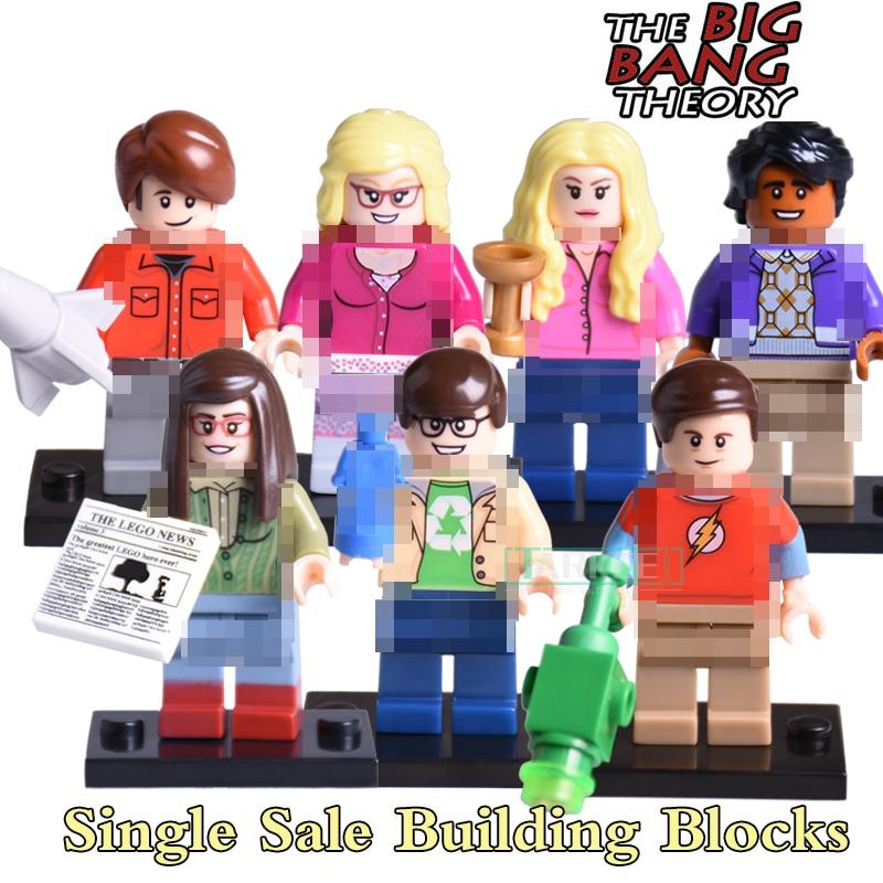 1PC TBBT Sheldon Cooper Leonard Howard Rajesh diy figures THE BIG BANG Theory Penny Amy Bernadette Building Blocks Kids DIY Toys лонгслив printio the big bang theory sheldon cooper