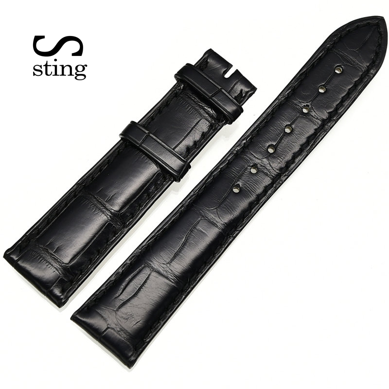 Fashion Design Bamboo Pattern Smooth Alligator Leather Watch Strap Women & Men Crocodile Watchband crocodile skin pattern cow leather wristwatch strap watchband black size 20l