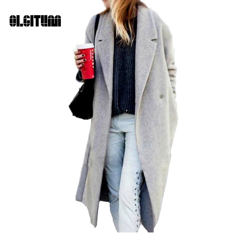 2017 New Design Women's Grey Wool Coats Winter Long coat Warm x ...