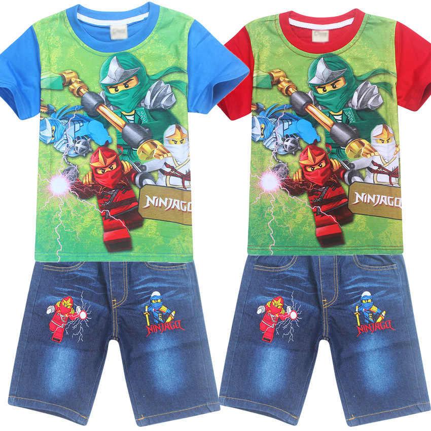595f60bd0e summer boy Ninja Ninjago Clothing set cartoon Legoe Characters Batman  spiderman Legoe Cotton T-shirt