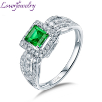 LOVERJEWELRY Natural Zambia Emerald Female Rings 14K White Gold SI Diamonds For Women Wedding Party Christmas Gift Fine Jewelry