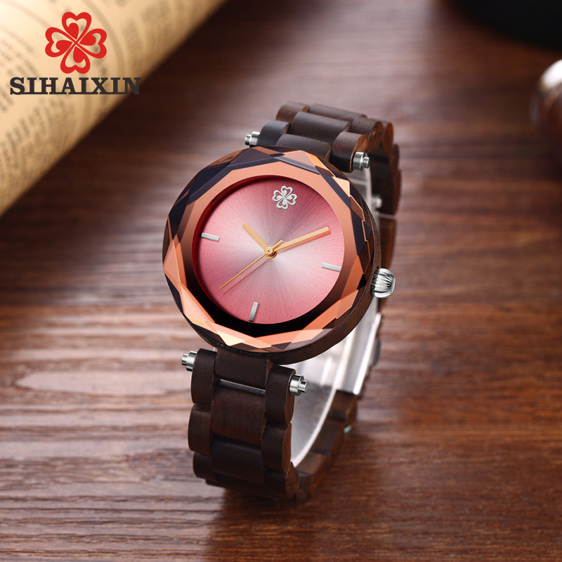 red-dial-glass-wooden-band-watch-women-clock-black