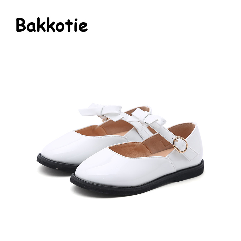 Bakkotie 2018 Spring Baby Girl New Fashion Patent Leather Bow Child Casual Princess Shoe Flat kid Leisure Brand Sweet Mary Jane