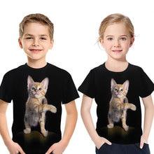 Kids Tshir 3D children short-sleeved clothes round neck baby boy girl Tops cute cat animal print T-shirt fashion summer clothing