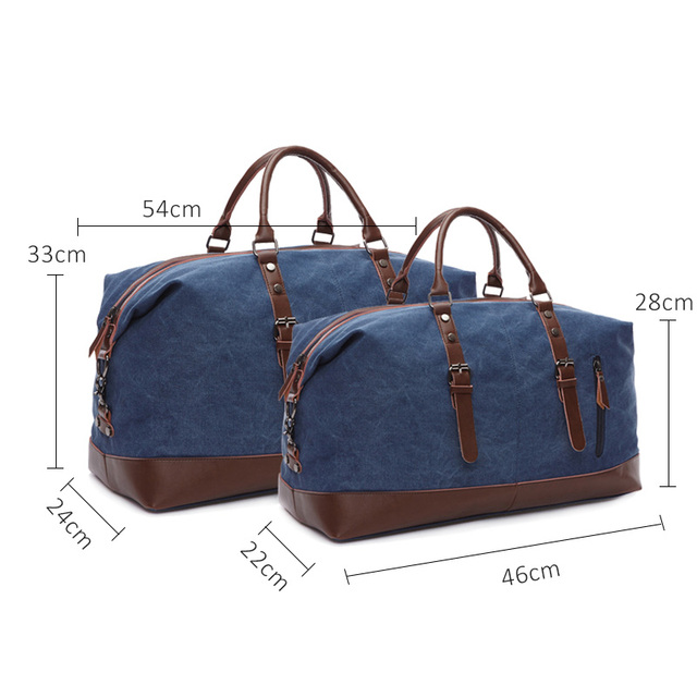 Scione Men Canvas Travel Shoulder Luggage Bags Large Capacity Handbag Business Casual Vintage Leather Simple Tote Bag For Women 2