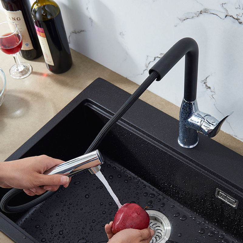 Sanitary Ware Quartz Stone Tank Single Tank Double Tank Faucet Kitchen Faucet Cold And Hot Pull Faucet
