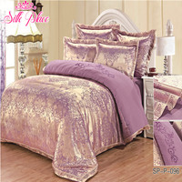 Silk Place Fashion Quality Satin Jacquard Bedding Set Qualified Bedclothes Unique Design No Fading Twin Full Queen