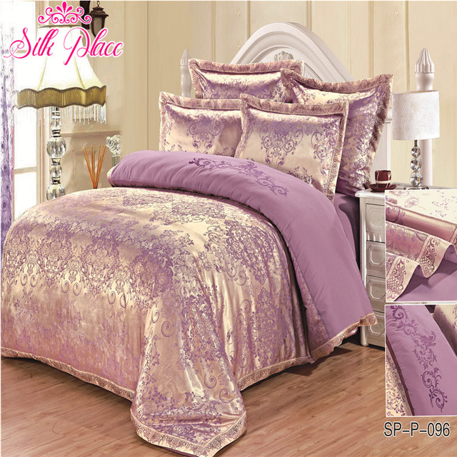 """""""Silk Place"""" Fashion Quality Satin Jacquard Bedding Set Qualified Bedclothes Unique Design No Fading Twin Full Queen"""