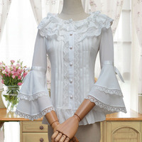 Women White Sweet Lolita Lace Shirt Chiffon Ruffle Flower Mori Girl 3/4 Bell Sleeves Shirt Tops Button Up Party Blouse For Girls