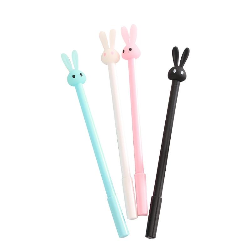 4 Pcs Cute Kawaii Fun 0.38mm Gel Black ink Roller Ball Point Pens Rabbit Korean