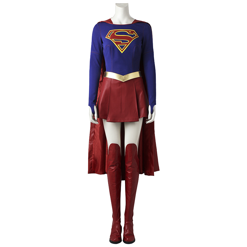 Supergirl Costume Kara Zor-El Danvers Cosplay Jumpsuit Fancy Outfit Superhero Halloween Cosplay Full Suit with Boots Custom Made