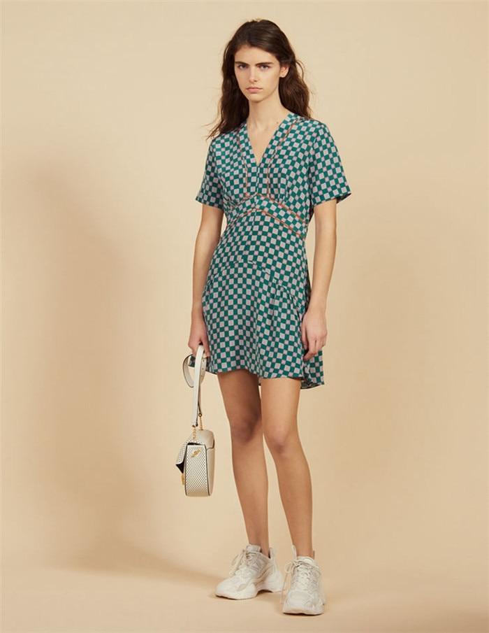 2019 New Women Plaid Dress Summer Short Sleeve V Neck Slim Mini Dress