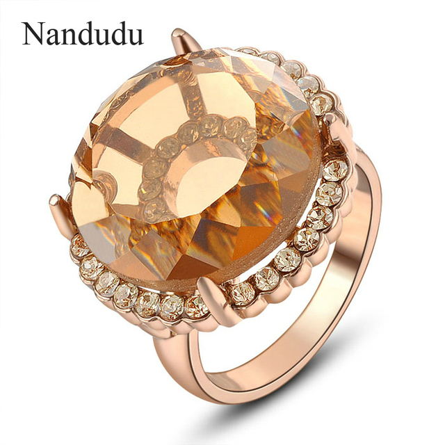 Nandudu 2cm Big Austrian Crystal Ring Special Design Female Girl Women Rose Gold