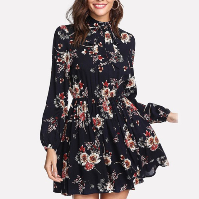 0d00ebde50ad Floral Print Elegant Dress Chic Autumn Long Sleeve Chiffon Dress Women High  Waist Elastic Bow Tie
