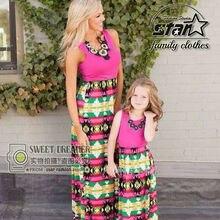 Богемный Стиль Печатные Мама и Я Соответствующие Платья Макси Летом Мать и Дочь Малыш Наряды Семьи Сопоставления Одежда