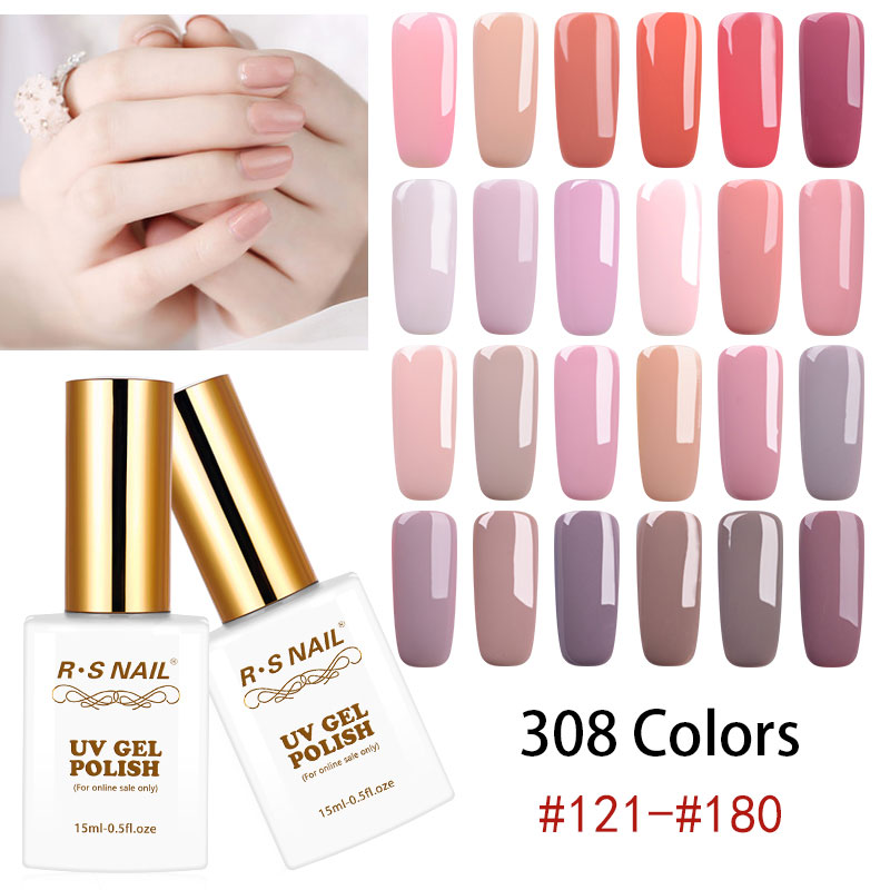 RS uñas 15ml UV Color LED Gel Esmalte de Gel laca 308 colores Esmalte de gel de uñas #121-180 Esmalte Permanente un conjunto de Gel barniz (3)