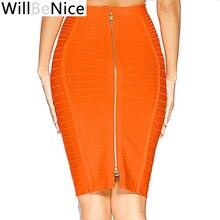 Willbenice סקסי תחבושת סיטונאי כתום כחול שחור תחבושת חצאית נשים באורך הברך Bodycon עיפרון חצאיות