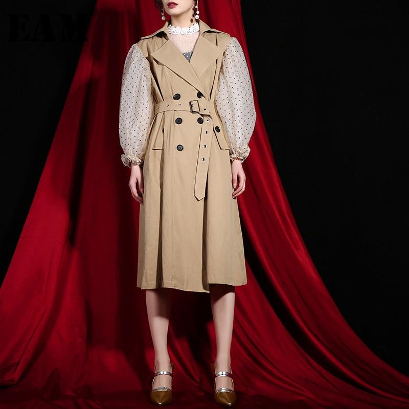 [EAM] 2019 New Spring Lapel Long Puff Sleeve Sashes Dot Mesh Stitching Loose Long Big Size Windbreaker Women Coat Fashion JH3