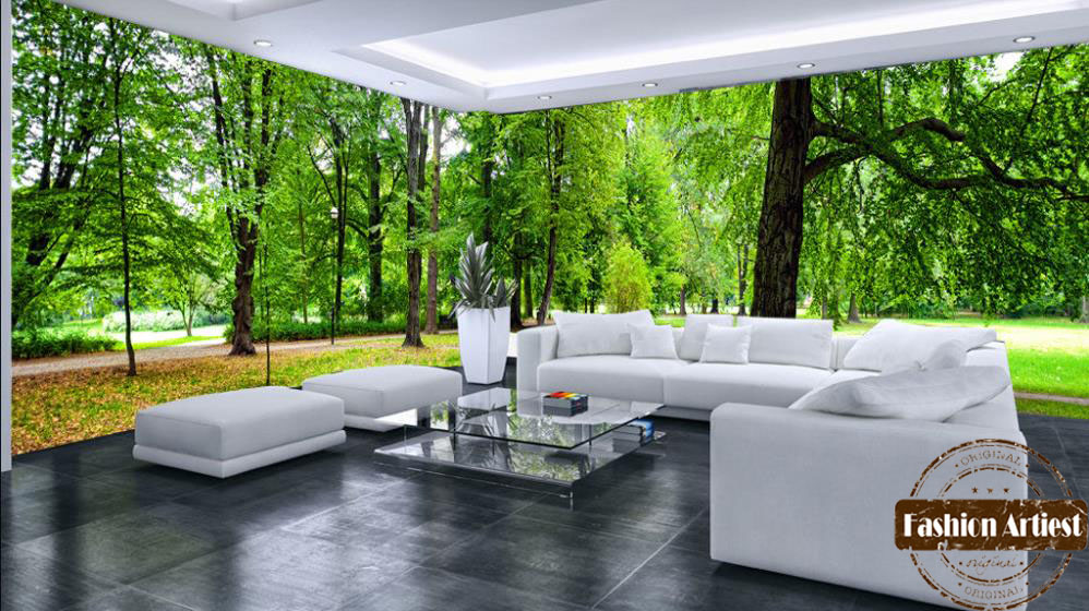 Custom modern 3d large wall wallpaper mural tree forest for Cheap living room wallpaper