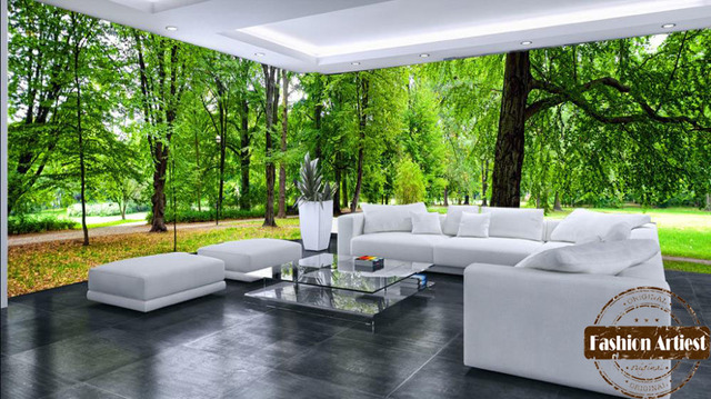 Custom Modern 3d Large Wall Wallpaper Mural Tree Forest Grassland Wild View  Peace Scenery Tv Sofa Part 35