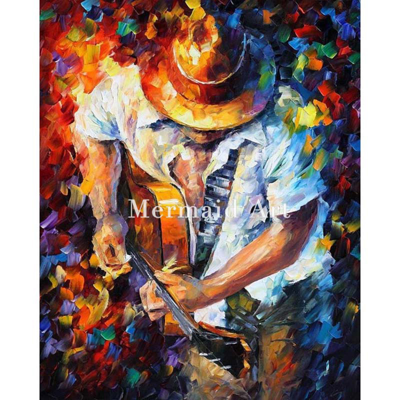 hand painted Palette font b knife b font thick Art Guitar And Soul Modern Artwork of