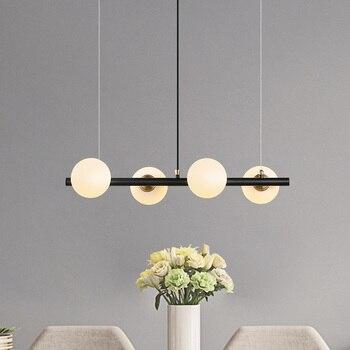كرة زجاجية الحديثة قلادة أضواء LED شنقا مصباح الإبداعية 4 رؤساء انتظار تركيبات الإضاءة مطعم غرفة نوم Lamparas مصابيح